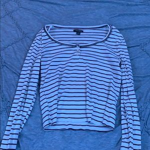 White and black striped long sleeve top